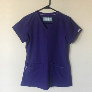 NWOT Med Couture Purple Scrub Top Size XS